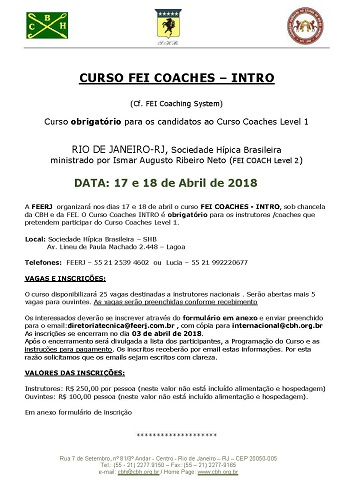 <b>CURSO FEI COACHES – INTRO - 17 e 18 de Abril de 2018 - SHB</b>